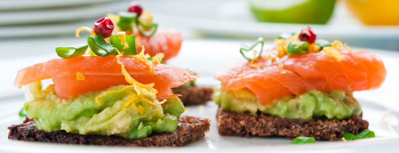 Avocado and Smoked salmon on Rye
